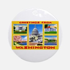 Washington DC Greetings Ornament (Round)