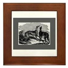 Two Greyhounds Framed Tile
