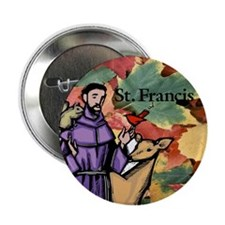 Saint Francis Leaves Button