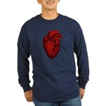 Anatomical Human Heart Long Sleeve Dark T-Shirt