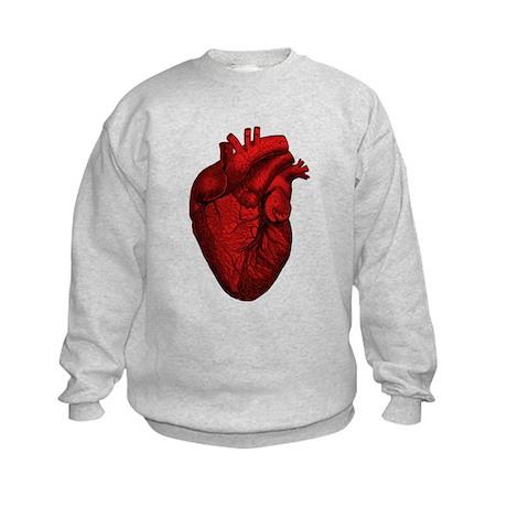 Vintage Anatomical Human Heart Kids Sweatshirt