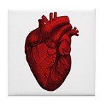Vintage Anatomical Human Heart Tile Coaster