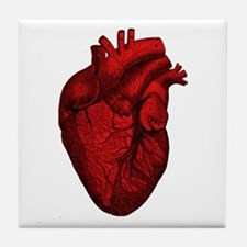 Vintage Anatomical Human Heart Tile Coaster