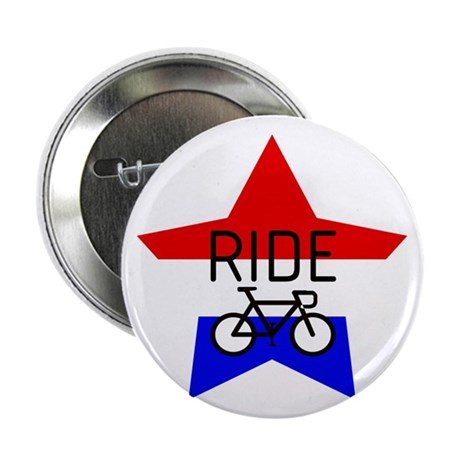 "Red, White and Blue RIDE star 2.25"" Button (10 pac"