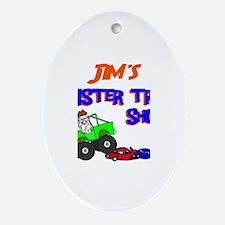 Jim's Monster Truck Oval Ornament