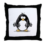 Weight lifting penguin 2 Throw Pillow