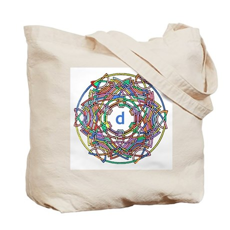 """Brightly colored monogram Tote Bag """"D"""""""