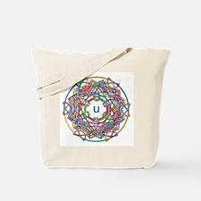 "Brightly colored monogram Tote Bag ""U"""