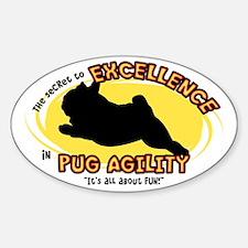 The Secret to Pug Agility Oval Decal