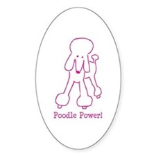 Poodle Power Oval Decal