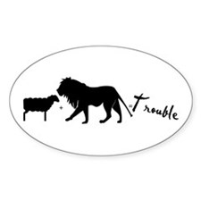 Twilight Lion and Lamb is Trouble Oval Decal