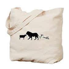 Twilight Lion and Lamb is Trouble Tote Bag