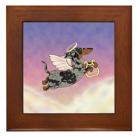 Silver Dapple Dachshund Angel Framed Tile