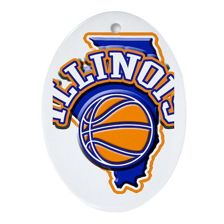 Illinois Basketball Oval Ornament