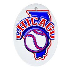 Chicago Baseball Oval Ornament