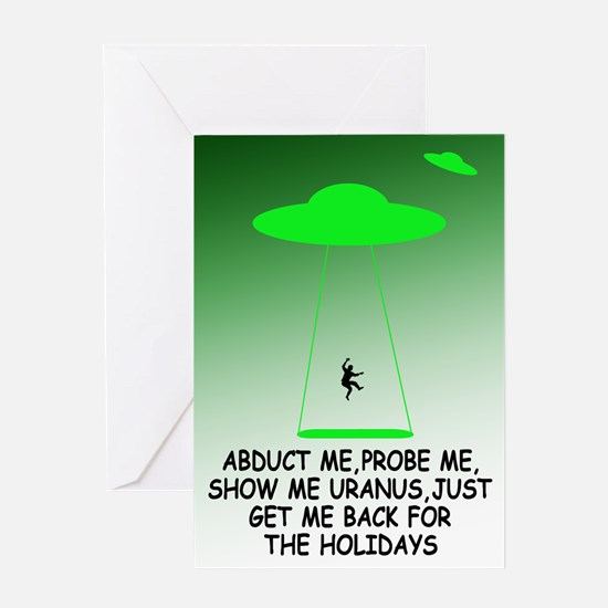 Funny alien theme holidays Greeting Card