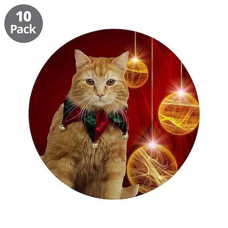 """Orange Cat Xmas 3.5"""" Button (10 pack)"""