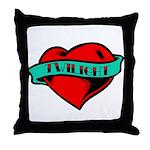 Twilight Heart Tattoo Throw Pillow