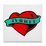 Twilight Heart Tattoo Tile Coaster