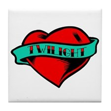 Twilight Heart Tattoo Tile Coaster
