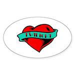 Twilight Heart Tattoo Oval Sticker (50 pk)