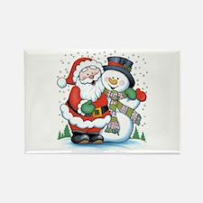 Santa and Snowman Rectangle Magnet
