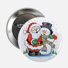 "Santa and Snowman 2.25"" Button"