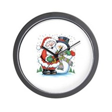 Santa and Snowman Wall Clock