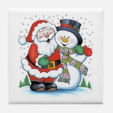Santa and Snowman Tile Coaster