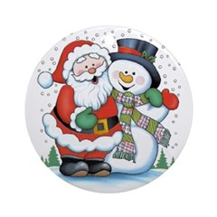 Santa and Snowman Ornament (Round)