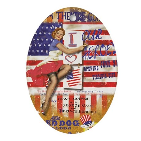"""Red Dog """"Love our Heroes"""" Oval Ornament"""