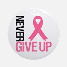 NeverGiveUp Breast Cancer Ornament (Round)