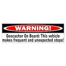 Warning! Geocacher On Board Bumper Bumper Bumper Sticker