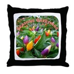 Pepper Christmas Lights Throw Pillow