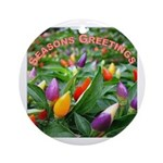 Pepper Christmas Lights Ornament (Round)