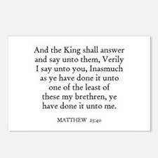 MATTHEW  25:40 Postcards (Package of 8)