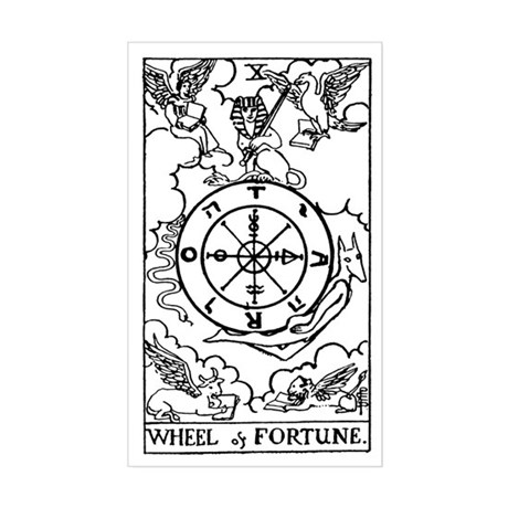 Wheel of Fortune Tarot Card Rectangle Sticker