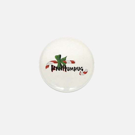 Bah Humbug Broken Candy Cane Mini Button