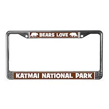 Bears Love Katmai National Park License Frame