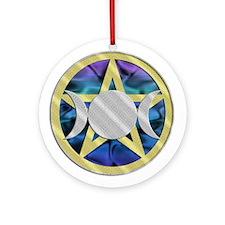 Yuletide Pentagram Triple Goddess Ornament (Round)