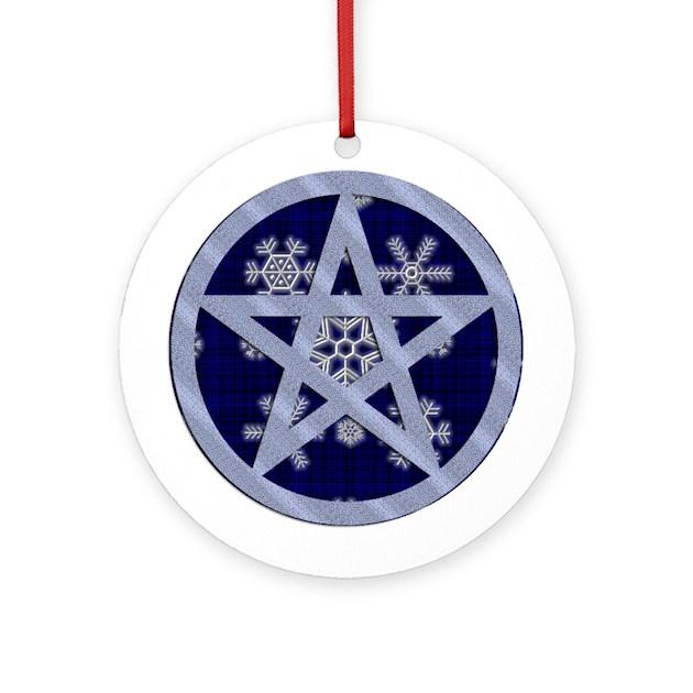 Yuletide Pentagram Ornament Round By Puremagic