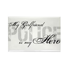 My Girlfriend is My Hero - POLICE Rectangle Magnet
