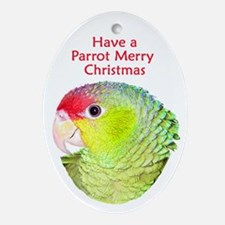 Amazon Parrot Merry Christmas Oval Ornament
