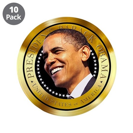 """Obama Gold Seal 3.5"""" Button (10 pack)"""