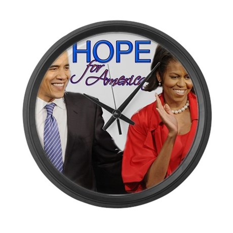 Large Wall Clock Obama Hope for America