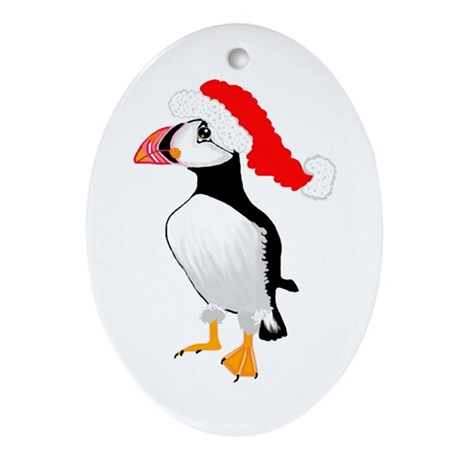 Christmas Puffin Oval Ornament