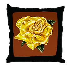 Yellow Rose Brown bkg Throw Pillow
