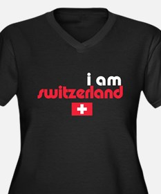 I Am Switzerland Women's Plus Size V-Neck Dark Tee