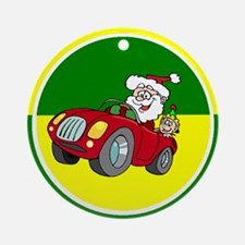 Santa In A Car Ornament (Round)