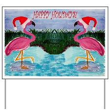 Santa Flamingo Holiday Yard Sign